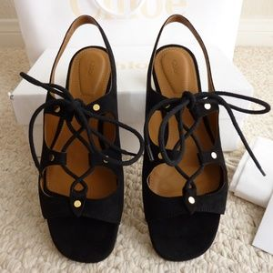 Chloé Chloe black suede leather Foster flat gladia